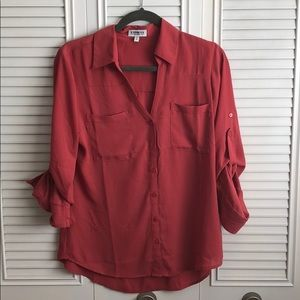 Coral Button up work blouse